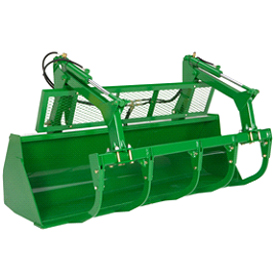 Heavy-duty bucket (2450 mm shown with grapple)