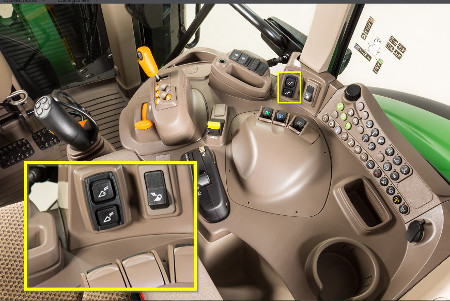 Two-button activation for hydraulic remote implement latch