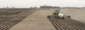 Medium residue in soybean stubble