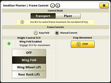 Manual control option on SeedStar 4HP