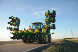 1715 12-Row Vertical-Fold Planter in transport