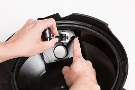 Knockout wheel easily snaps in and out