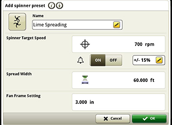 Spinner settings
