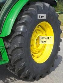 18.4R30 tire with optional rear-wheel weight