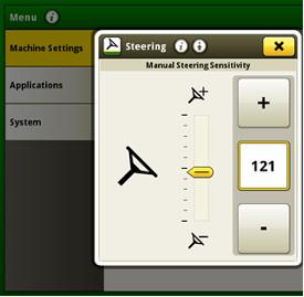 Steering sensitivity adjustment screen