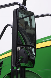 Wide-angle, heated top pane, electrically adjustable top pane, non-telescoping left-hand mirror for 8RT and 9RT Series Tractors
