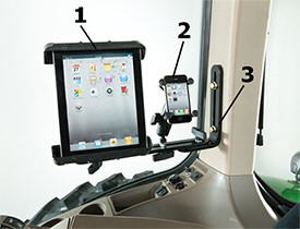 BRE10255 tablet mount assembly (1), BRE10015 cell phone mount assembly (2), and RE343680 L-shaped mounting bracket (3)