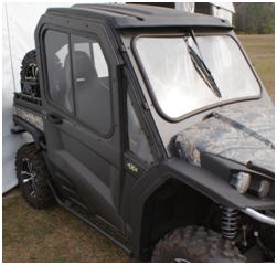 Shown with glass windshield and poly roof