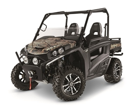 Shown in camo; also available in green and yellow. Shown with optional spot lights and half windshield.