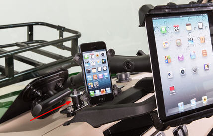 Accessory mounting bracket (shown with tablet and cell phone mount)