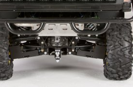 Rear end shot of sway bar, suspension components, and CV shafts (XUV825i S4)