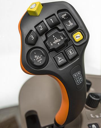 De CommandPro hydraulische hendel heeft zeven programmeerbare knoppen