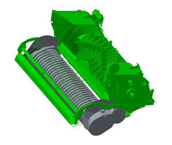 Opraper met een breedte van 2,3 m (7,5 ft) voor de breedste zwaden op alle modellen grootpakpersen