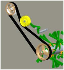 Transmissie van de kneuzer met rotors