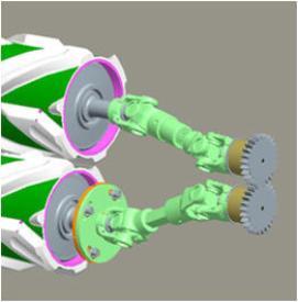 De rollen worden gesynchroniseerd middels een U-verbinding (rechts van de machine)