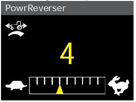 Instellingen voor PowrReverser-modulatie op het hoekstijldisplay