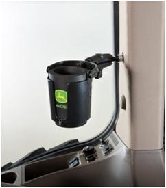 De zelfnivellerende bekerhouder wordt geleverd met drankwarmhouder met John Deere-logo