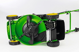 Bottom of mower with mulch blade and plug (design varies between different mowers)