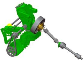Jednoduchá konstrukce hnacího ústrojí chráněná vačkovou spojkou