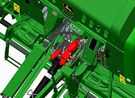 Hustota balíku se dá nastavit z monitoru ISOBUS přes ventil proprcionální hustoty
