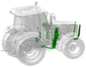 Traktor řady 5M připravený pro čelní nakladač