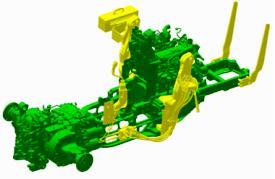 Traktor řady 5M s krytem kapoty připravený pro čelní nakladač