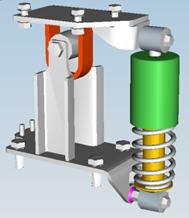 Mechanické odpružení kabiny s montážním prvkem