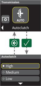 Nastavení funkce AutoClutch na displeji na rohovém sloupku