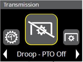 Nastavení poklesu řízení zatížení (vývodový hřídel [PTO] zapnutý) na displeji na rohovém sloupku