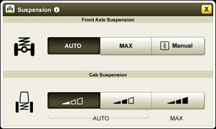 Front axle suspension and cab suspension settings