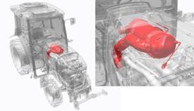 Ciągniki 5GF, 5GN, 5GV Stage IIIB: katalizator / filtr cząstek stałych (DOC / DPF) pod pokrywą silnika (widok od góry)