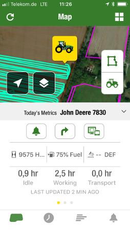 Możesz przeglądać i oceniać wykonanie codziennych prac, wykorzystanie maszyn oraz informacje o polach w dowolnym miejscu i czasie.