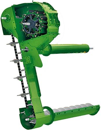 """Um """"mini"""" cilindro de debulha com côncavo e barras debulhadoras separa os grãos que restam nas espigas"""