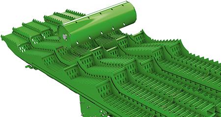 A área de sacudidor de 6,3 m² (67,8 pés quadrados) na ceifeira-debulhadora W440 garante uma separação eficaz