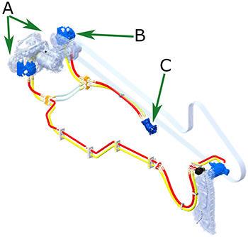 Caixa de engrenagens de distribuição da potência (A), bomba da cabeça de corte (B), e motor da cabeça de corte (C)