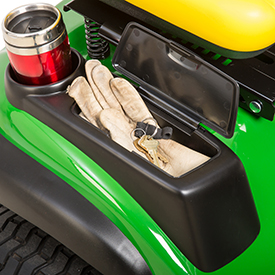 Storage compartment and beverage holder (shown on X165)