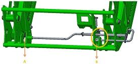 Posições de bloqueio da alfaia (1, 2) e o botão de acionamento do sistema de acoplamento automático das alfaias (AIL) (2)