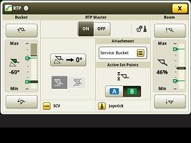 Vista do monitor da função RTP (retorno à posição)