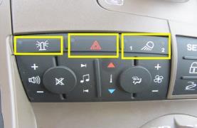 Luzes de aviso giratórias /de aviso de perigo, faróis de trabalho 1 e 2 localizados no CommandCenter