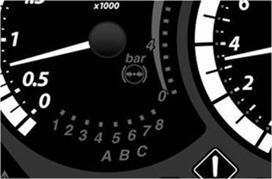 Os grupos A, B, C e os intervalos da transmissão PowerShift são indicados no painel de instrumentos