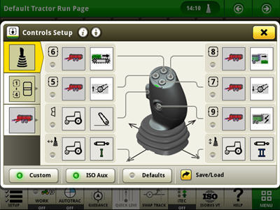 Exemplo da configuração dos controlos do joystick elétrico (as funções personalizadas e as funções auxiliares ISO estão ativas)