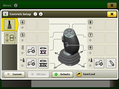 Configuração dos controlos para o joystick elétrico no modo de configuração da fábrica (por padrão)