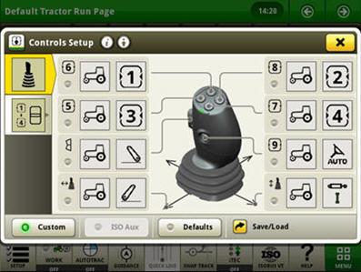 Exemplo da configuração dos controlos para o joystick elétrico (as funções são ativadas no modo personalizado)