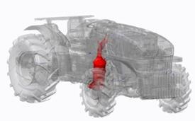 Série 5GL Fase IIIB: catalisador de oxidação diesel (DOC)/ filtro de partículas diesel (DPF) fora do capô (vista angular)