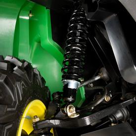 Detalhe da suspensão dianteira XUV
