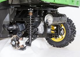 Detalhe da suspensão traseira do veículo XUV