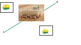 Система навигации с разделением сигналов - система активного вождения орудием, приемник трактора (левый) и приемник рабочего оборудования (правый)