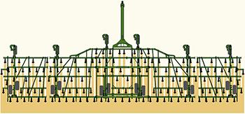 Расположение сошников с разделением по центру 152 мм