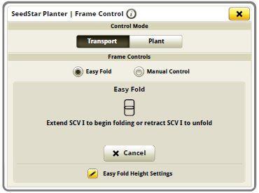 Экран при включенной функции Easy Fold