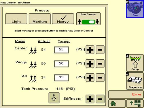 Изображение на дисплее GreenStar 3 2630 для очистителей рядков, совместимых с системой SeedStar 3 HP